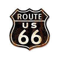 VINTAGE Black Rusty ROUTE 66 Sign Shaped Sticker Decal (historic highway decal) Size: 4 x 4 inch