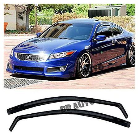 EOS Smoke Tinted JDM Style Side Window Visor Rain Guard - Honda Accord 2 Door Coupe 08-12 2008 2009 2010 2011 2012 - Honda Accord 2 Door Coupe