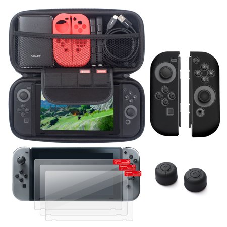 Nintendo Switch 5 Items Starter Kit  By Insten Carrying Case Hard Shell Cover   3 Pack Lcd Film   Joy Con Controller Skin  Left Black Right Black    Joy Con Thumb Grip Stick Caps For Nintendo Switch