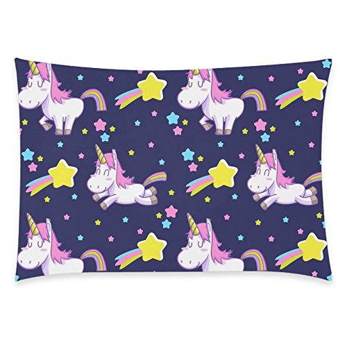 ZKGK Unicorn Rainbow Home Decor, Cute Unicorn Star Soft Pillowcase 20 x 30 Inches,Unique... by ZKGK
