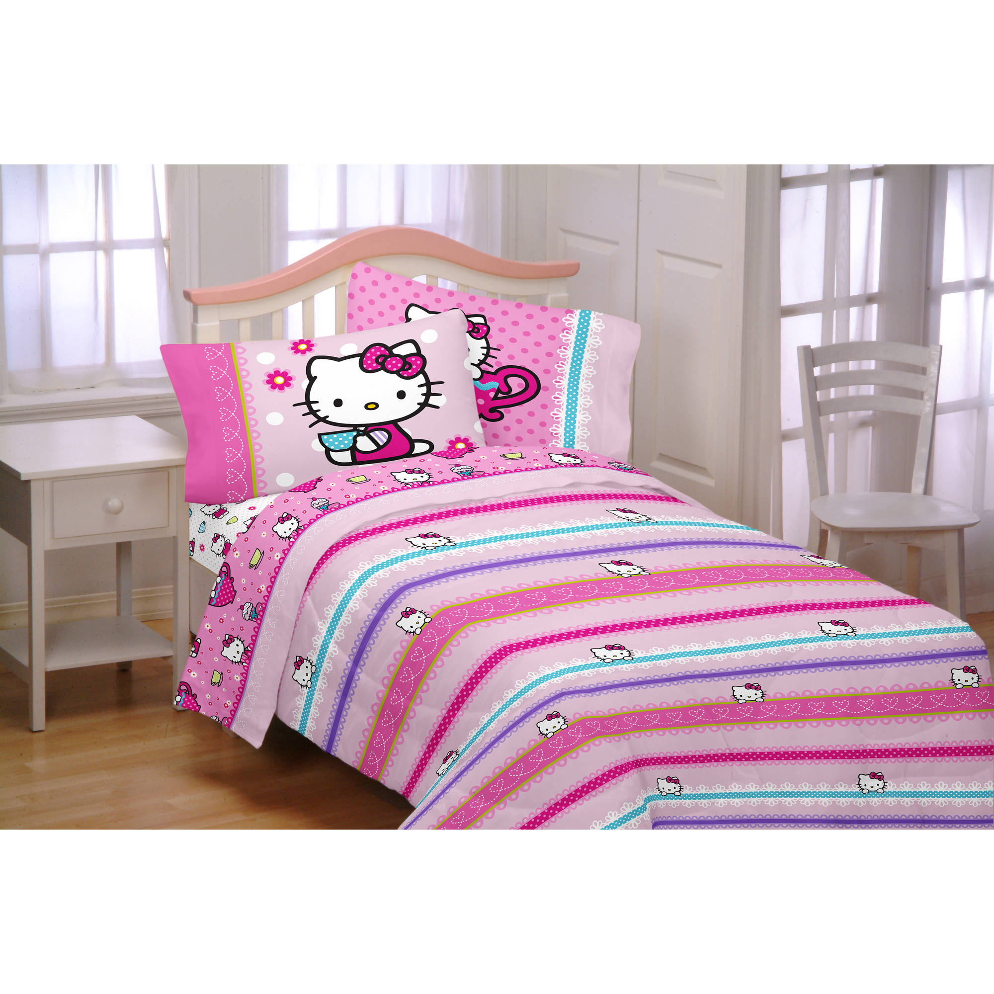 Hello Kitty Reversible Twin Bed in a Bag Bedding Set Walmart
