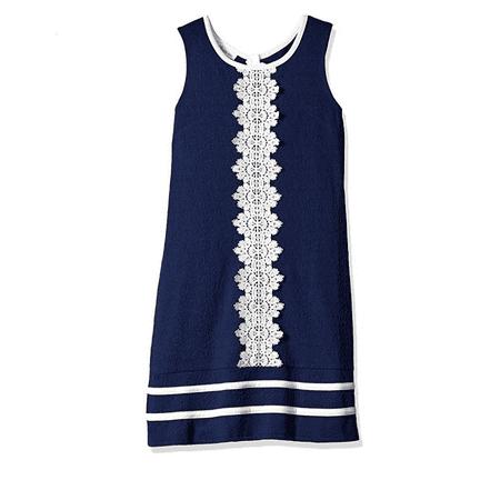 Nautical Girl (Bonnie Jean Big Girls Easter Navy Nautical Lace Striped Uniforms Dress 6X)