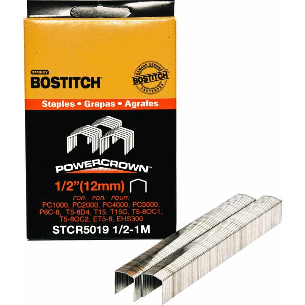 Bostitch 1,000 Count 1/2'' Power Crown Staples STCR50191/2-1M  (Set of 5)
