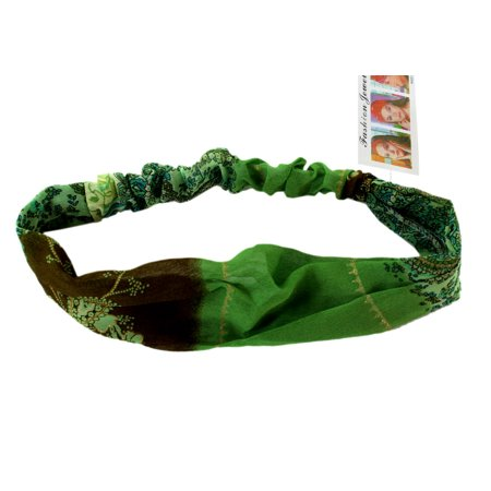 Green Psychedelic Flowers  Vintage Retro Headband