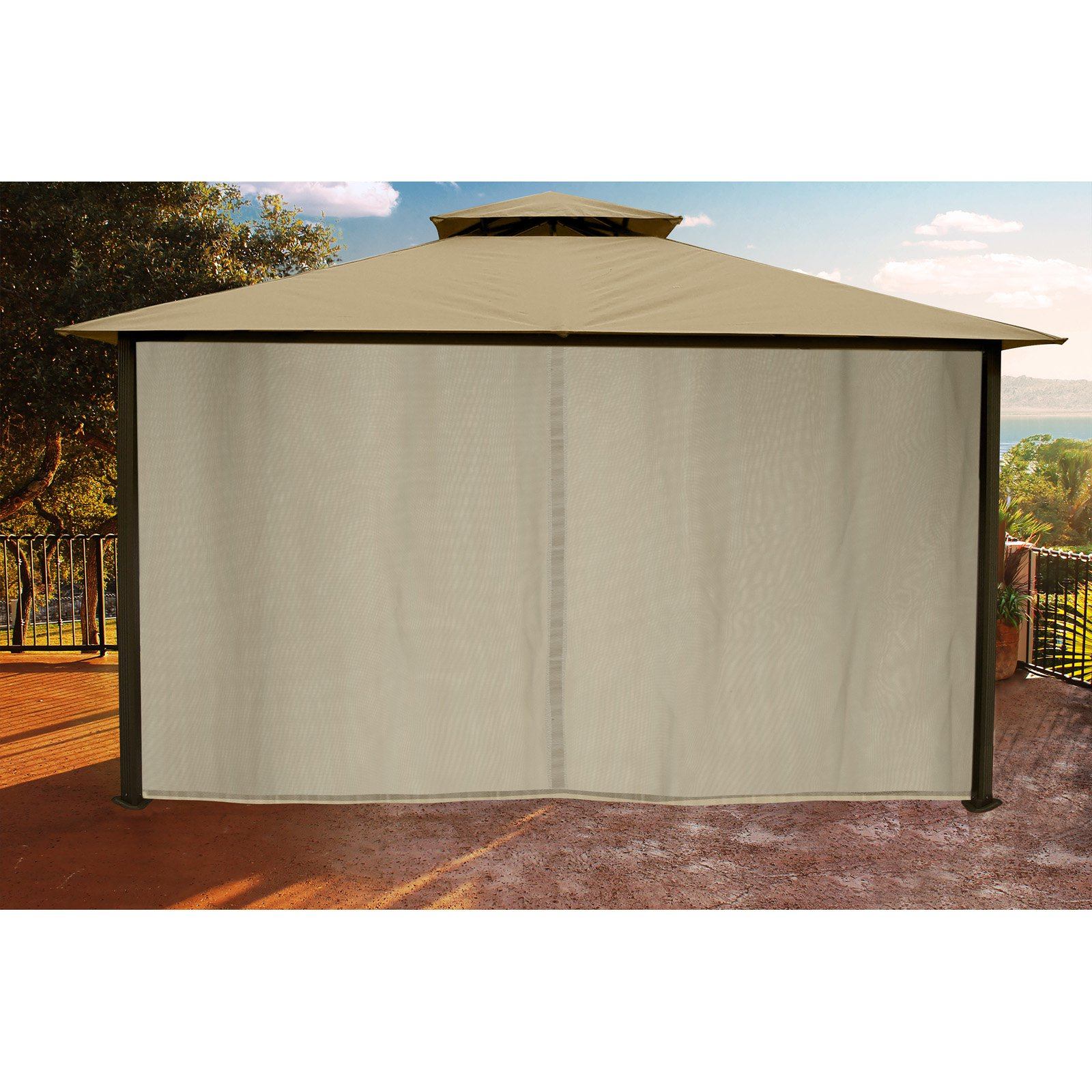 Carolina 10' x 12' Gazebo with Sand Color Top and Privacy Curtains and Mosquito Netting