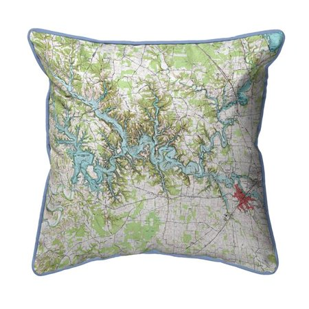 Betsy Drake ZP613 22 x 22 in. Tims Ford Lake, TN Nautical Map Extra Large Zippered Indoor & Outdoor Pillow