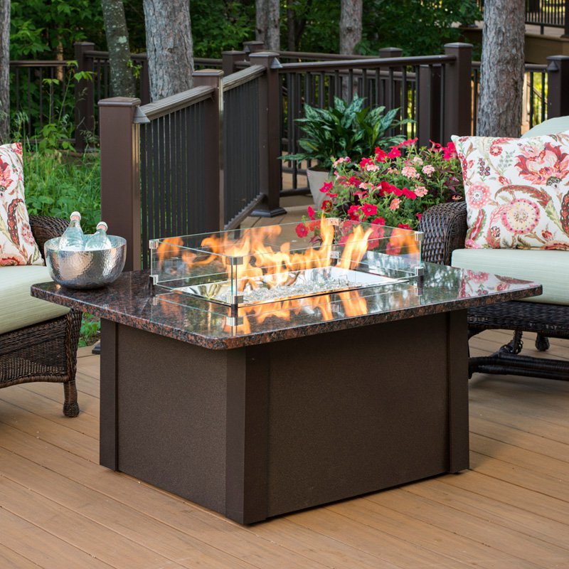 High Quality Outdoor GreatRoom Grandstone Fire Pit Table With Optional Glass Guard