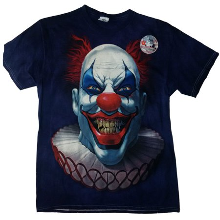 Halloween Mens Blue Evil Clown Graphic T-Shirt