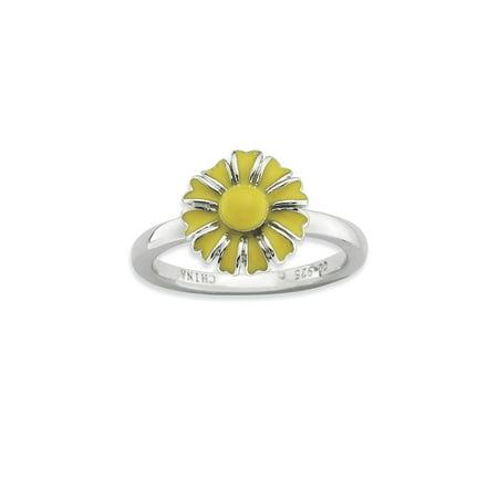 Enamel Flower Daisy - 925 Sterling Silver Yellow Enamel Daisy Flower Ring