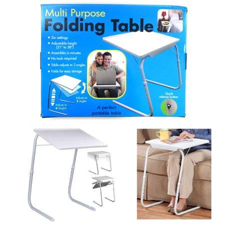 Folding Table Adjule Desk Tray Cup Holder Eat Work Foldable Under Sofa Bed