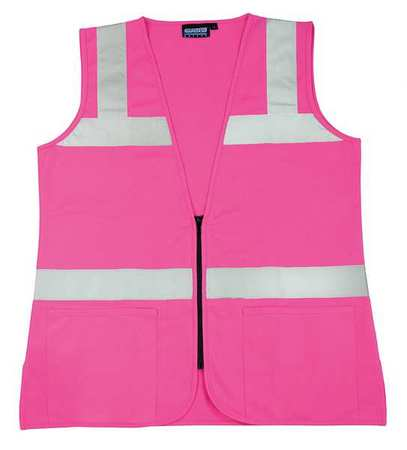 ERB SAFETY Large High Visibility Vest, Pink, S721  61911