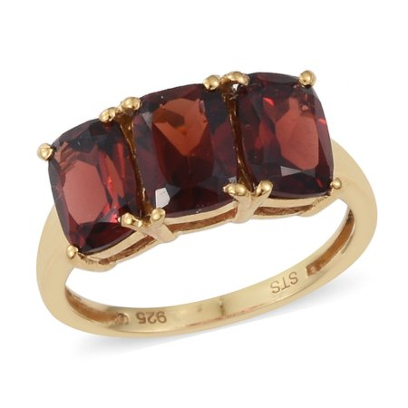 925 Sterling Silver Yellow Gold Plated Cushion Garnet Fashion Ring for Women and Girls Cttw 2.7