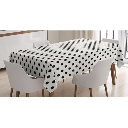 Geometric Tablecloth, Old Fashion Large Polka Dots Spots with Modern Digital Effects Minimalist Design, Rectangular Table Cover for Dining Room Kitchen, 52 X 70 Inches, Black White, by - Black And White Polka Dot Table Cloth
