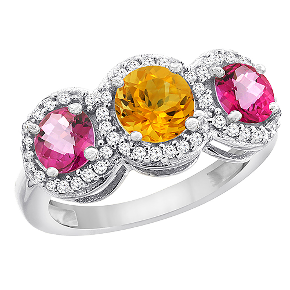 14K White Gold Natural Citrine & Pink Topaz Sides Round 3-stone Ring Diamond Accents, size 5.5 by Gabriella Gold