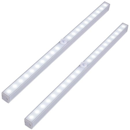 Eeekit 2 1pcs Led Closet Lights Wireless 20 Led Motion Sensor Under Cabinet Light Battery Operated Night Lighting Bar Lamp Stick On Anywhere Battery