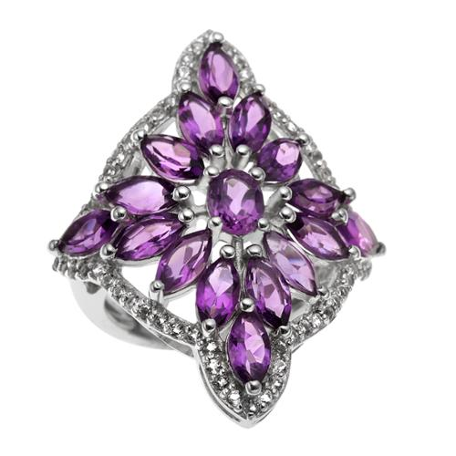 Sterling Silver 4.01ct Amethyst and White Topaz Snowflake Ring Size 10