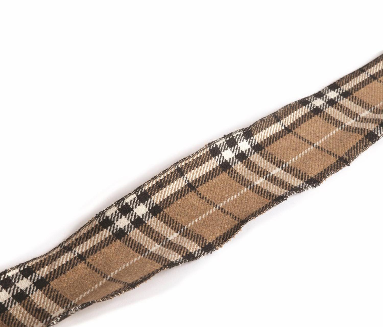 "Country Cabin Tan, Cream and Black Plaid Christmas Craft Ribbon 4"" x 10 Yards"