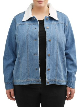 Women's Plus Sherpa Trim Denim Jacket