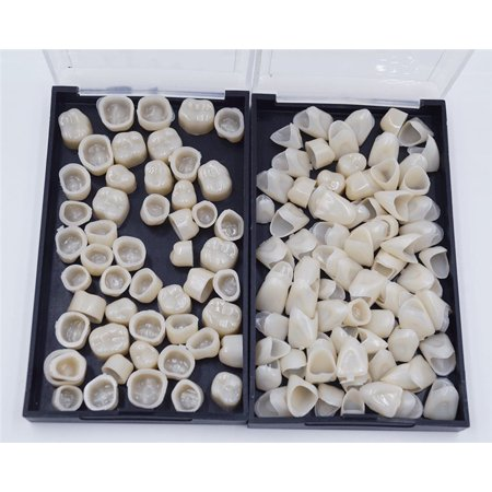 100 PCS Dental Temporary Crown Kit Anterior Front Back Molar Posterior Safe Resin Material Anterior Front Teeth Oral Care Resin Crown (100 Dollar Bill Front And Back)