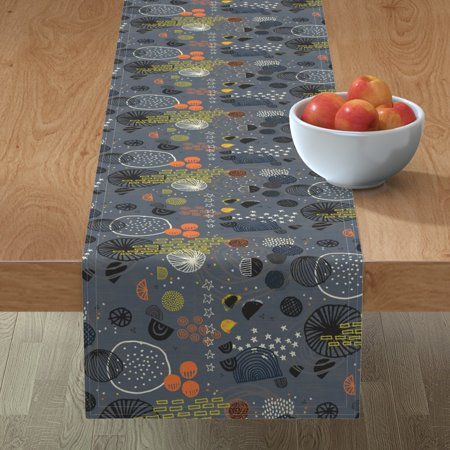 Image of Table Runner Mod Galaxy Modern Planets Sun Stars Celestial Moon Cotton Sateen