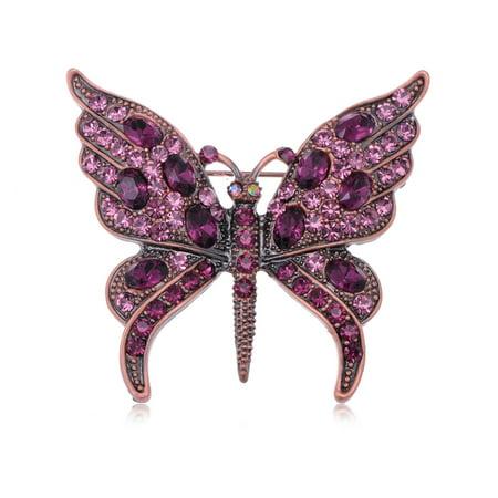 Womens Gunmetal Tone Purple Gem Rhinestones Antique Butterfly Brooch Pin Antique Womens Brooch