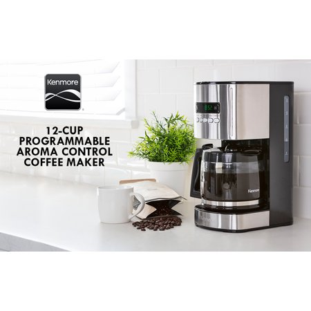 Kenmore Aroma Control 12 Cup Coffee Maker, Black and Stainless Steel, Programmable Timer, Reusable Cone Filter