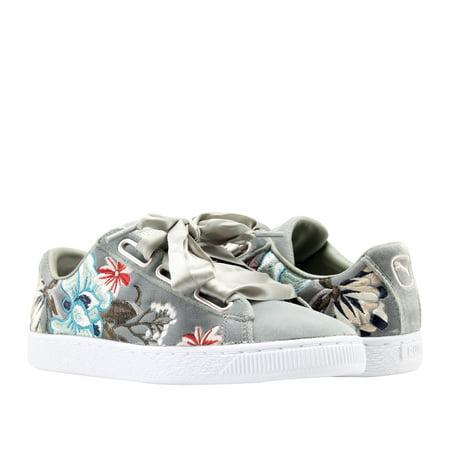 Puma Basket Heart Hyper EMB Rock Ridge Grey Floral Women's Sneakers 36611603](Floral Sneakers Shoes)