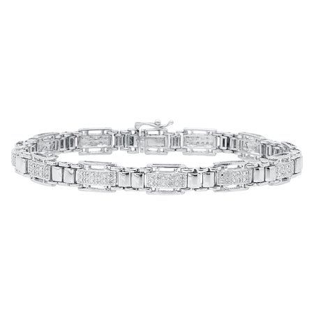 8.5mm Mens White Gold Finish Mens Pave Diamond Bracelet (0.50 ct) - Gold Mens Diamond Bracelet