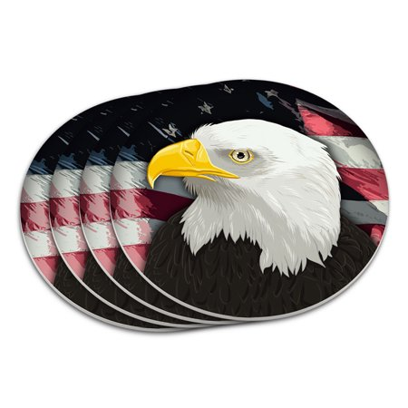 American Bald Eagle Flag USA Patriotic Coaster Set