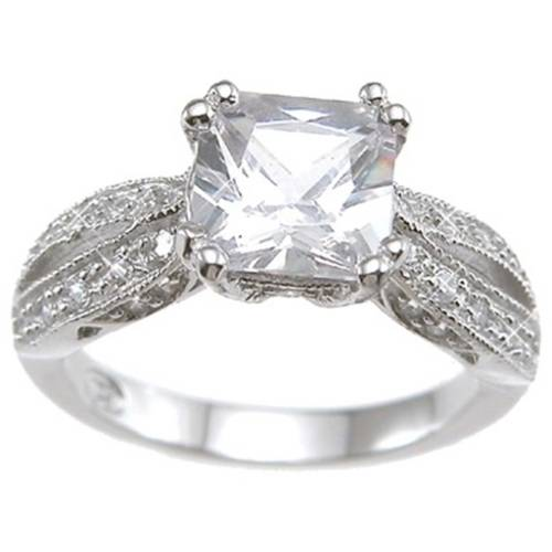 CZ Sterling Silver Rhodium Finish Princess Antique-Style Wedding Ring