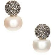 PORI Jewelers Freshwater Pearl Sterling Silver Marcasite Drop Earrings
