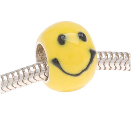 Silver Plated Bead W/ Yellow Enamel Happy Face - European Style Large Hole (1)