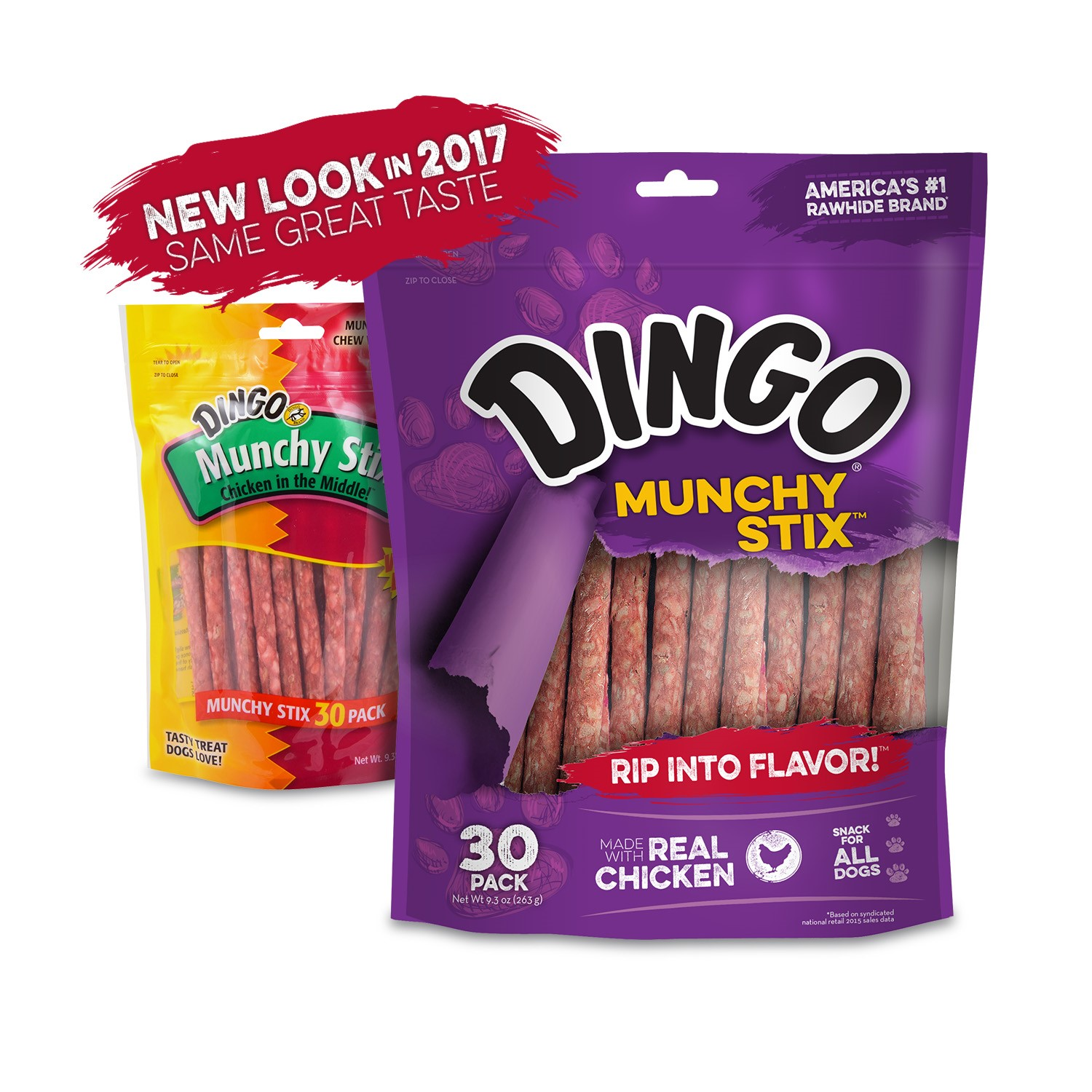 Dingo Munchy Stix Rawhide and Chicken Treat for Dogs, 30 ct
