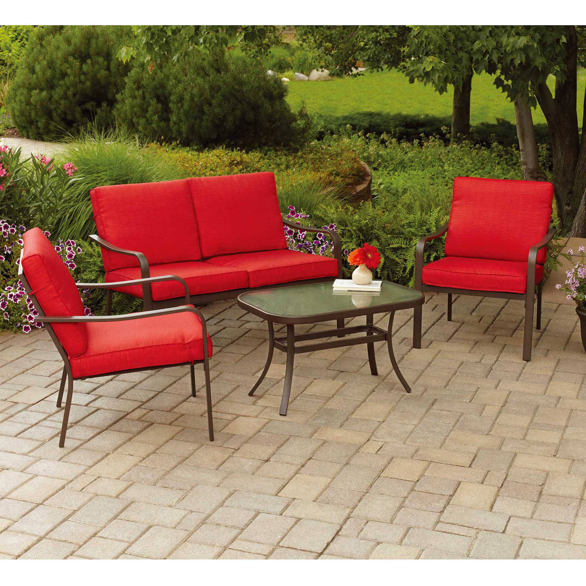 Mainstays Stanton Cushioned 4-Piece Patio Conversation Set, Red ...