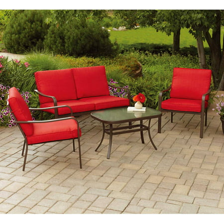 Mainstays Stanton Cushioned 4-Piece Patio Conversation Set, Red - Mainstays Stanton Cushioned 4-Piece Patio Conversation Set, Red