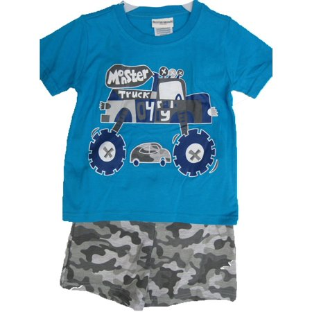Monsters Inc Outfit (Buster Brown Little Boys Blue Gray Monster Truck Print Camo 2 Pc Shorts Set)