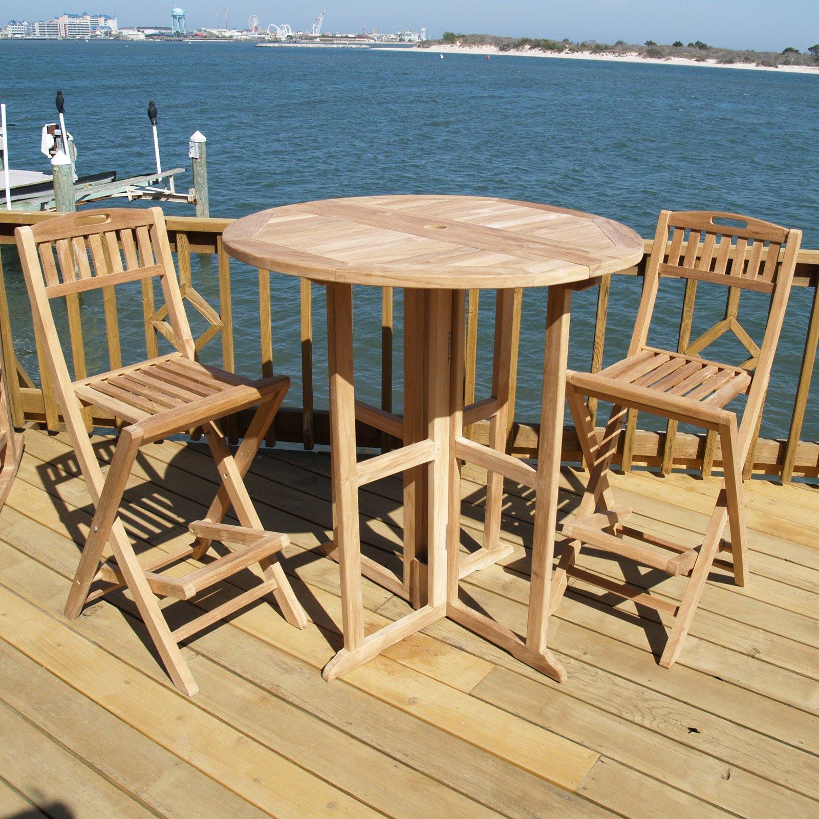 Windsor Teak Furniture Teak Wood 3 Piece Bar Height Patio Dining Room Set by Windsor Teak Furniture