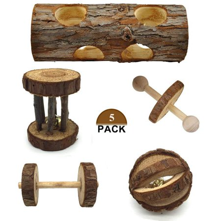 Natural Hamster (Bojafa 5 Pcs Natural Wooden Playing Chewing Toys for Small Animal Hamster Gerbil Mouse - Tunnel, Ball, Bell Roller, Dumbbell, Unicycle for Small Animals Molar Teeth Clean)