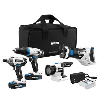 Hart 20-Volt Cordless 4-Tool Combo Kit (2) Lithium-Ion Batteries & Bag