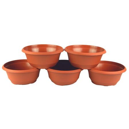 Image of 7.5 Inch Plastic Bowl Planter Terra Cotta (5 Pack)
