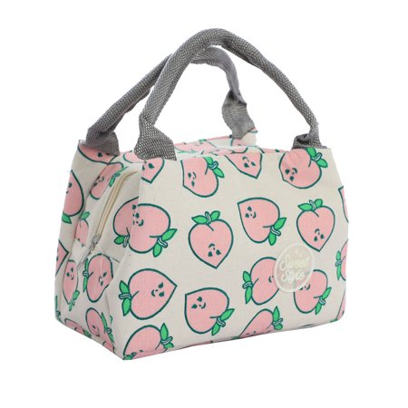 Insulated Lunch Box Warm Cooler Travel Tote Carry Bag White w Peach Pattern - image 7 of 7