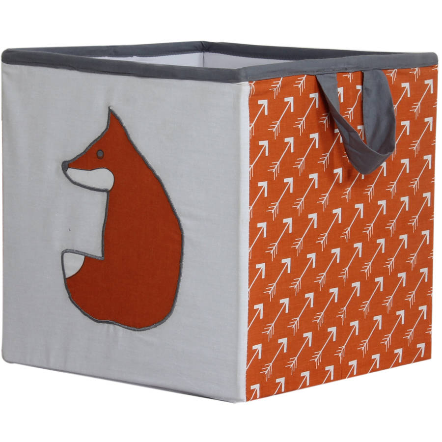 Bacati - Playful Foxes Orange/Gray Cotton Percale Fabric covered Storage Small Box, 10 L  x 10 W x 10 H inches