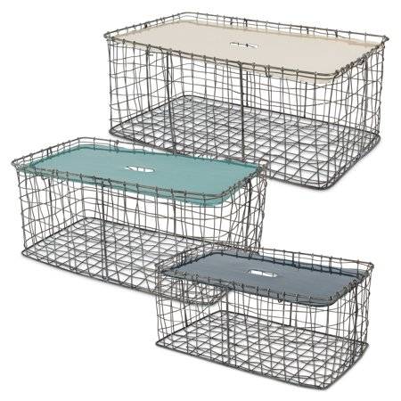 Rectangular Stacking Chicken Wire Baskets with Enameled Top (Set of 3) ()
