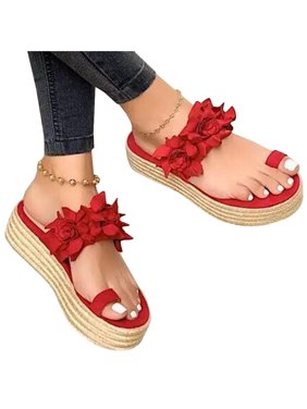 Women's Wedge Platform Sandals Espadrille Toe Ring Summer Slip On Beach Shoes