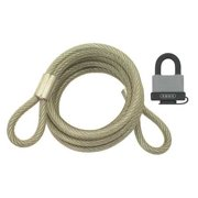 ABUS 00089 Steel Cable w/ Padlock, 6 Ft L, 5/16 In W