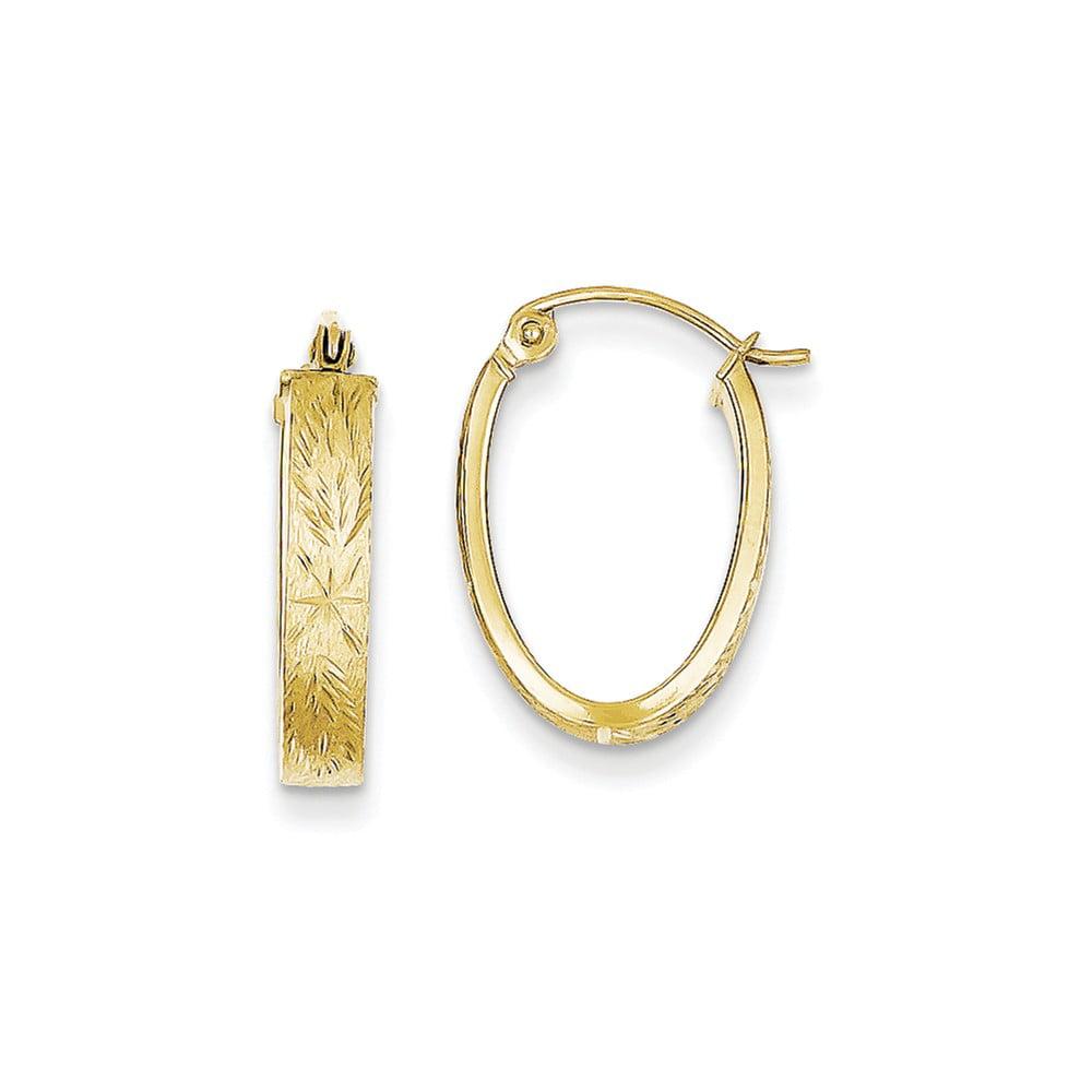 10k Yellow Gold Brushed D/C Oval Hoop Earrings (0.7IN x 0.5IN )