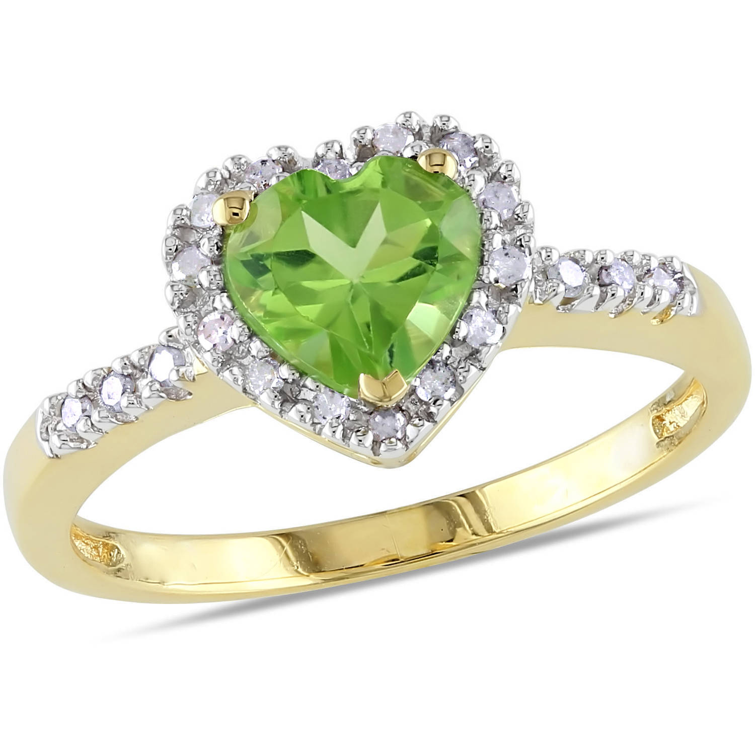 Tangelo 4/5 Carat T.G.W. Peridot and Diamond-Accent 10kt Yellow Gold Heart Ring