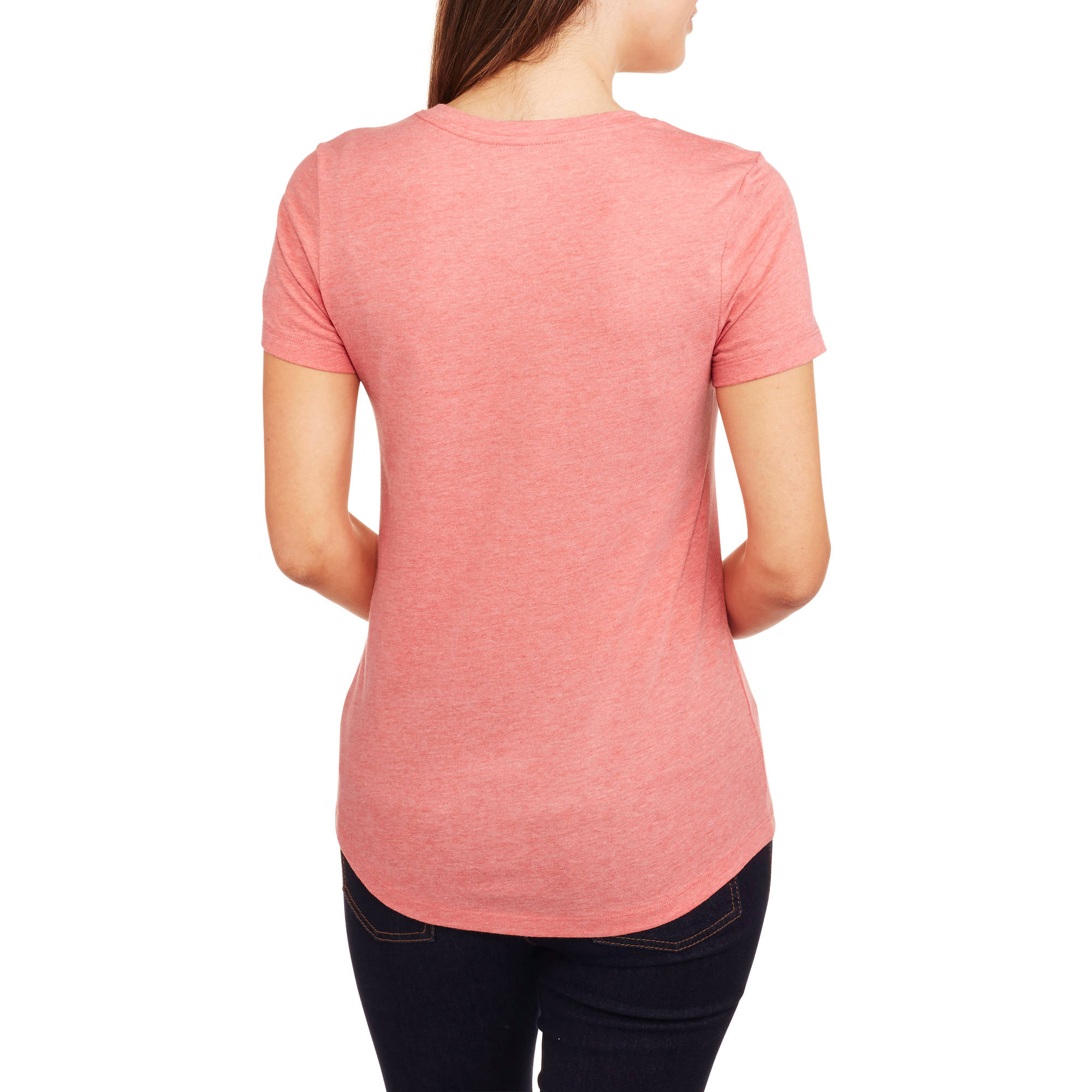 2 Pack Faded Glory XXL Short Sleeve V-Neck Tee striped Pink/&Grey Peach//white