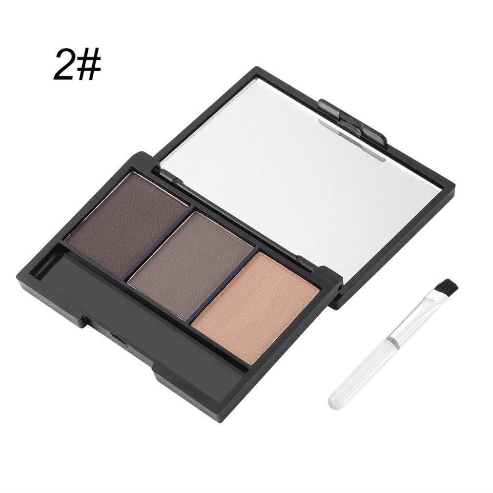 Ocday 3 Colors Mineral Eyebrow Cake Powder Makeup Palette Waterproof