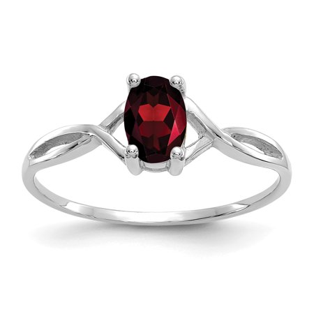 14k White Gold Red Garnet Birthstone Band Ring Size 7.00 January Oval